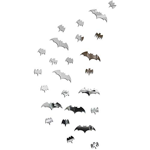baofengxue 25 Pieces of 3D Stereo Mirror Matte Halloween bat Wall Stickers Acrylic DIY Combination Detachable self-Adhesive Bedroom Living Room Children's Room Wall Decoration (Silver)