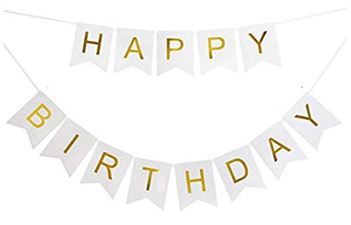 (New Gold Happy Birthday Banner by Samika, White and Gold Bunting Banner with Shiny Foil Gold Letters Great Decor for Your)