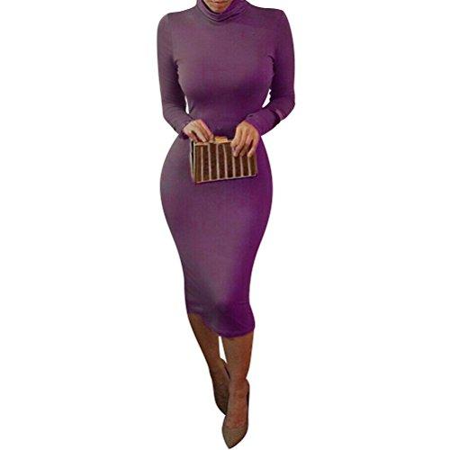 Wrap Turtleneck Long Tunic Midi Pencil Sleeve Women Bodycon Slim laiyuan Purple Dress 5aFxYqwE