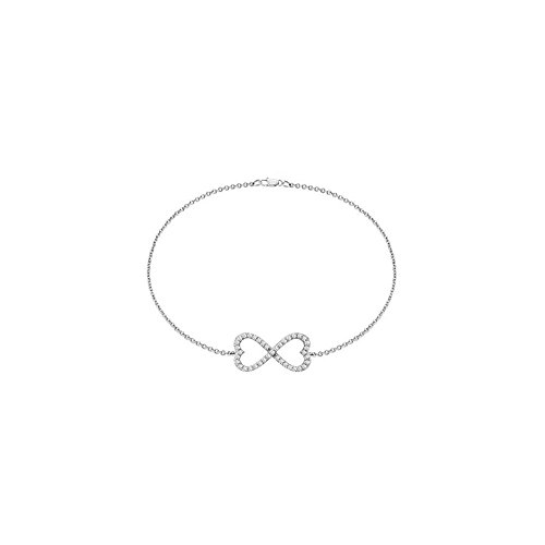 Infinity Diamonds Bracelet Double Heart Design in White Gold 14K with 0.50 Carat Diamonds