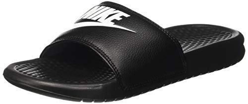 Nike Men's Benassi Just Do It Athletic Sandal, Black/White Noir/Blanc, 12.0 Regular US Close Back Thong Sandal