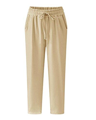 Pantaloni A Da Con Cintura Alta Cachi Elasticizzata Sciolto Vita Tasche Donna Cargo arUnx8qa