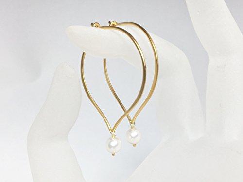 White Pearl Gold Hoop Earrings, Vermeil Lotus Ear Wire, Crystal ()