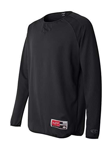 (Rawlings Mens Long Sleeve Flatback Mesh Fleece Pullover 9705 -Black L)