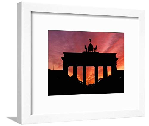 ArtEdge Brandenburg Gate, Unter Den Linden, Berlin, Germany by Dave Bartruff, White Matted Wall Art Framed Print, 9 x ()
