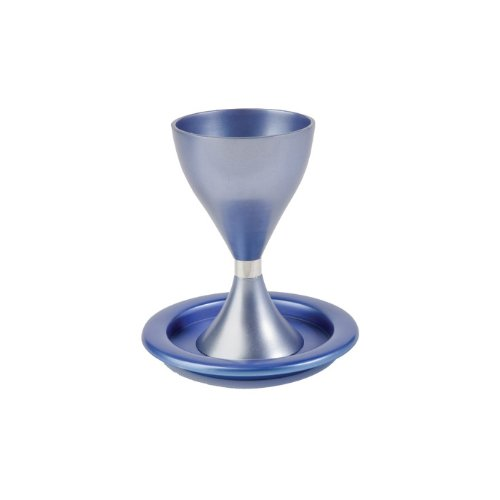 Yair Emanuel Blue and Silver Aluminum Kiddush Cup with Matching Saucer
