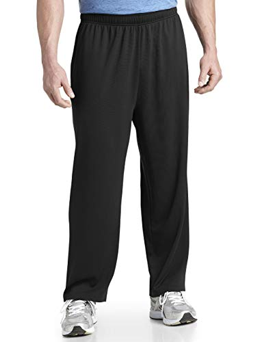 Reebok Big & Tall Play Dry Mesh Knit Pants (2XL, Black)