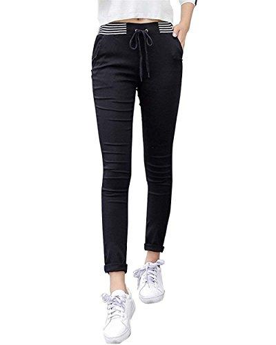 marca Coulisse Moda Swag Nero Autunno Elastica Mode di Lunghe Donna Fit Libero Tendenza Dritti Streetwear Elegante Slim Pantaloni Tempo Matita Pantaloni Pantaloni Primaverile Vita Rw7XTxq