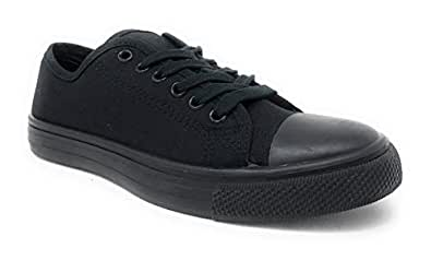 Charles Albert Women's Classic Canvas Lace-Up Low-Top Sneaker Black Size: 6