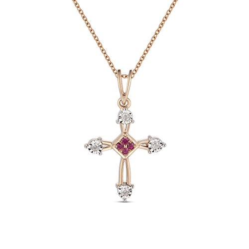 Ferhe New York Mother's Day Gift, 14K Gold Almighty Cross Pendant with Diamond & Ruby,Diamond Almighty Cross Pendant, Ruby Almighty Cross Pendant,Pendant Only- NO Chain by Ferhe New York