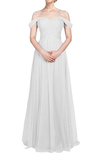 lang Damen La Partykleider Abendkleider mia A Tuell Brautjungfernkleider Schulterfrei Linie Abschlussballkleider Weiß Braut UUzwqE