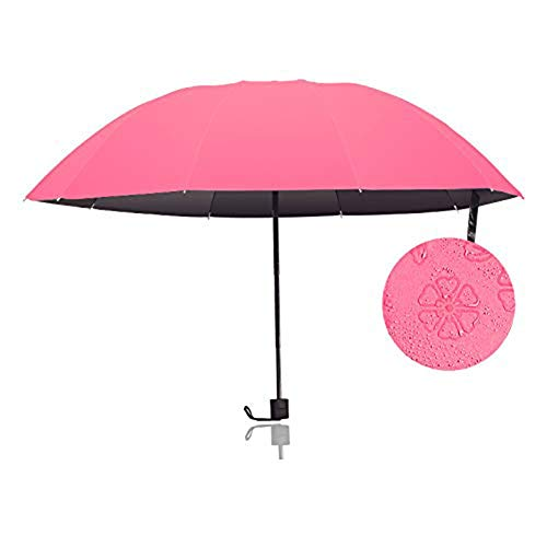 CJW Compact Umbrella Travel Folding Umbrella, Windproof Reinforced Frame, Easy to Carry (Color : Rose red)