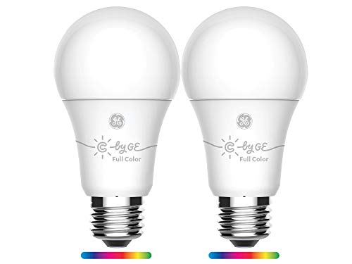 GE Lighting 93105377 C by GE Smart A19 Full Color, Works with Alexa and Google Assistant, WiFi Enabled, 2-Pack Connected LED Bulb from GE Lighting