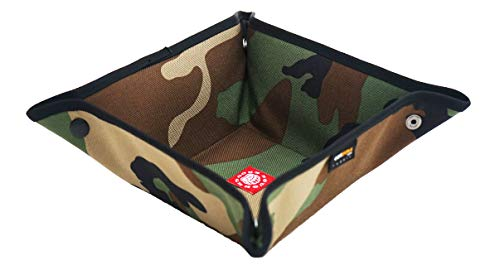 Rough Enough Fancy Vintage CORDURA Green Military Camo Pattern Valet Tray Foldable Basket Storage Box Key Coin Wallet Desk Organizer Supplies Cosmetic Remote Control Tray Holder for School Home Office ()