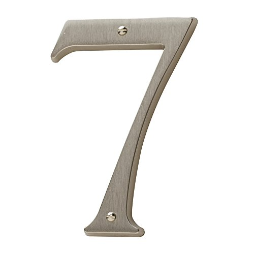 (Baldwin Estate 90677.150.CD Solid Brass Traditional House Number Seven in Satin Nickel, 4.75