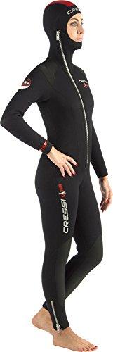 Cressi Damen Tauchanzug Diver 5 mm mit Angesetzter Haube, Schwarz/Red, M, LU488003