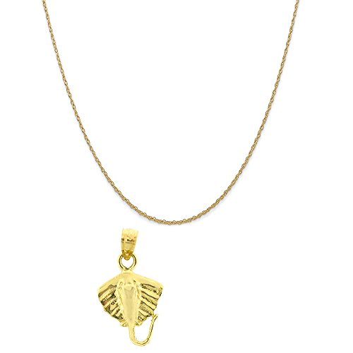 14k Yellow Gold Stingrays Pendant on a 14K Yellow Gold Rope Chain Necklace, 18