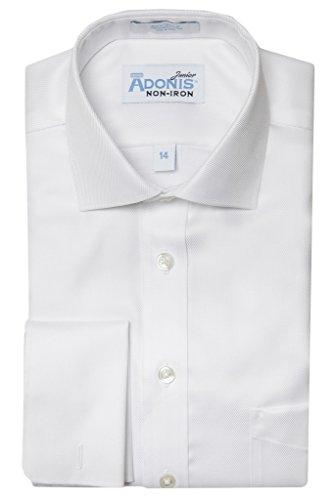 (Boys 100% Cotton Non Iron White-on-White 'Bold Twill' French Cuff Dress Shirt)