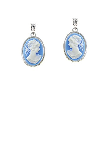 Small Blue Oval Cameo Clear Crystal Post Earrings