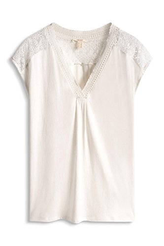 Esprit Embrovneck Tee - Camiseta sin mangas Mujer Blanco (Off White 110)