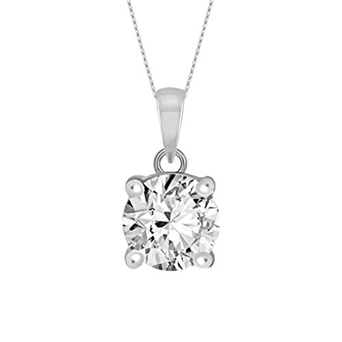 100% Pure Diamond Solitaire Pendant IGI Certified 1/2 ct Natural Diamond Necklace For Women I3-Clarity 14K White Gold Diamond Jewelry Gifts For Women (IJ-Color) (Jewelry Gifts For Women)