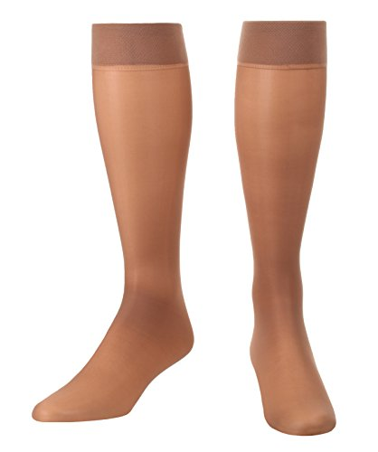 Sheer Light Support Knee Hi's graduated compression stockings 8-15mmHg 1 Pair- Absolute Support - Taupe XL Small - Made in the USA