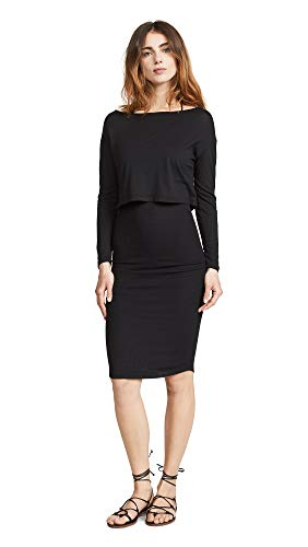Monrow Women's Baby Thermal Double Layer Dress, Black, Large ()