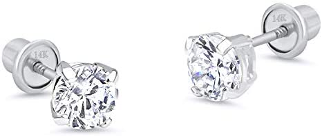 14k White Gold 2-6mm Basket Round Solitaire Cubic Zirconia Children Screw Back Baby Girls Earrings