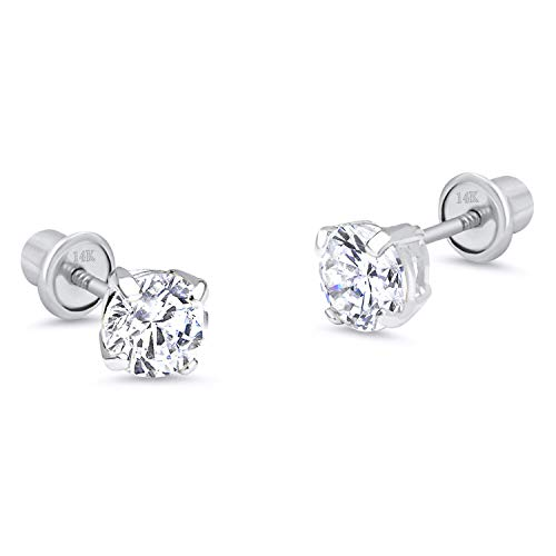 14k White Gold 6mm Basket Round Solitaire Cubic Zirconia Children Screw Back Baby Girls Earrings