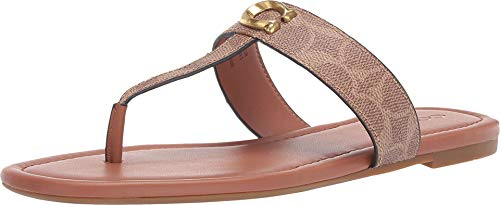 Coach Women's Jessie Thong Sandal with Signature Buckle Tan/Dark Brown 7.5 M US