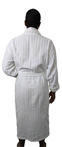 Pillowtex Velour Stripe Men s and Women s Luxury Bathrobe –White 998308dd8