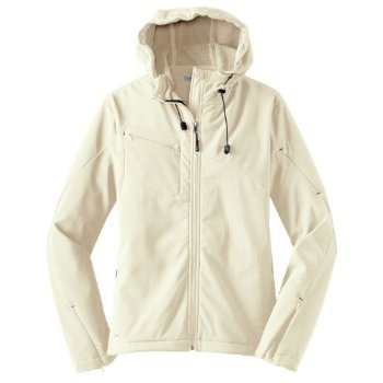Port Authority Ladies Textured Hooded Soft Shell Jacket, chalk white/charcoal, XXXX-Large