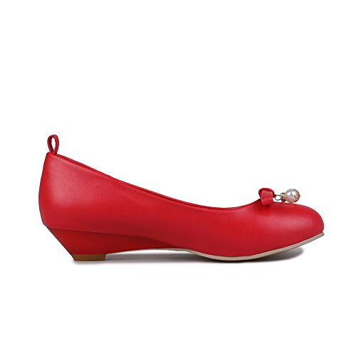 BalaMasa Girls Chunky Heels Spun Gold Bowknot Low-Cut Uppers Imitated Leather Pumps-Shoes Red ZtWjyhX