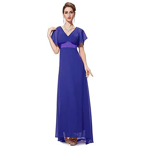 Para Royal Blue En V Vestidos Home color De 6 Largos Cuello Mujer Ailin Cintura Con Noche Doble Tamaño C6xwzCZq