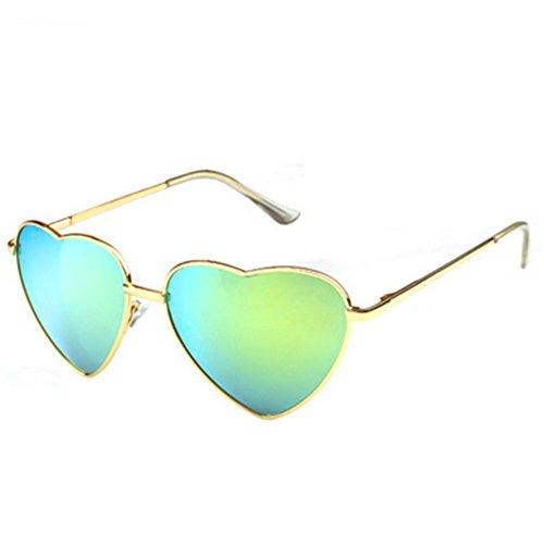 MosierBizne Womens Spring Fashion Heart-Shaped Mirror Leg Sunglasses Glasses Anti-luster - Make Face To Tighter How On Glasses