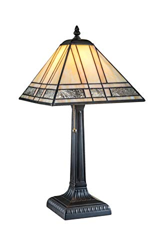 J Devlin Lam 380-2 TB Tiffany Stained Glass Mission Table Lamp Ivory and Amber Opalescent Accent Lighting Dresser Desktop
