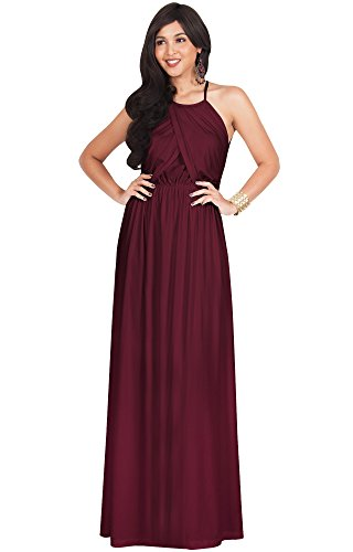 KOH KOH Plus Size Womens Long Bridesmaid Sleeveless Cocktail Evening Prom Formal Special Occasion Floor-Length Beach Wedding Party Guest A-Line Flowy Gowns Maxi Dresses, Maroon Wine Red 2XL 18-20 ()
