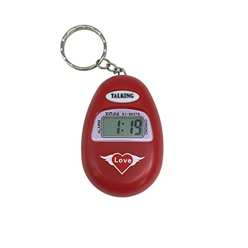 - French Language Talking Key Chain Clock Big Voice with Alarm for the Old man or Blind People (Red)