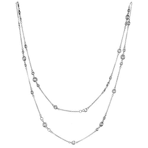Javeny 925 Sterling Silver 3A Grade Faced CZ Cubic Zirconia Wedding Long Chain Station Necklaces for Women ()