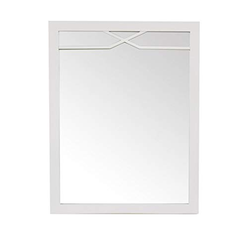 Maykke Abigail 30″ H x 24″ W Rectangle Gray Wall Decor Bathroom Vanity Mirror, Wood Framed Mirrors for Wall in French Grey Finish with Raised Detailing, YSA7724002
