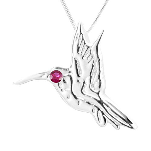 MB Michele Benjamin LLC Jewelry Design Sterling Silver Ruby Hummingbird Pendant Necklace 18L