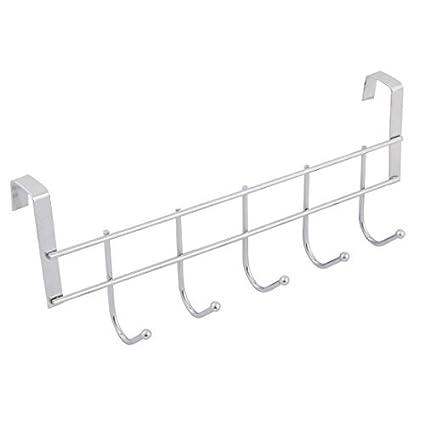 eDealMax metal Hogar Baño 5 ganchos para toallas ropa de la correa gancho de la suspensión