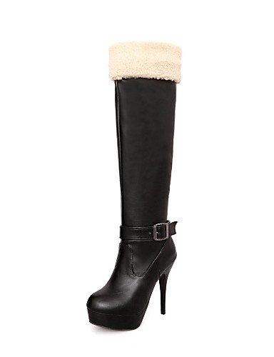 XZZ  Damenschuhe - Stiefel - Büro   Kleid   Lässig - Kunstleder - Stöckelabsatz - Plateau   Modische Stiefel - Schwarz   Weiß B01L1GNG9S Sport- & Outdoorschuhe Sorgfältig ausgewählte Materialien