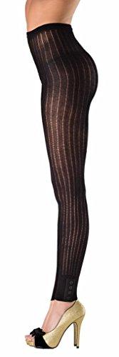 [Costume Adventure Women's Black Footless Vertical Stripe Pantyhose Leggings] (Striped Leggings Costumes)