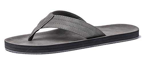 VIIHAHN Men's Flip Flops Leather Sandals Arch Support Summer Beach Slippers - Leather Rubber Sole Flip Flops