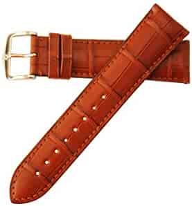 Earl Semi-Matte Genuine Alligator Watch Strap 22mm Gold Brown