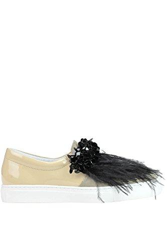 POKEMAOKE Women's MCGLCAK03072E Beige Patent Leather Slip On Sneakers jj0dZjP