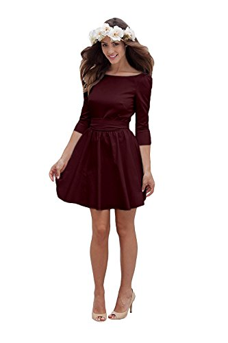 Bridesmaid Amore Bateau Short Women's Bowknot Dress Bridal Dress Wedding Beach Burgundy Backless rz0rpxn8