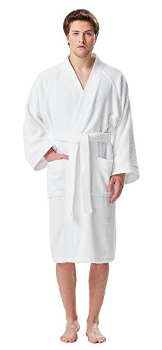 Arus Men's Short Kimono Bathrobe Turkish Cotton Terry Cloth Robe White -