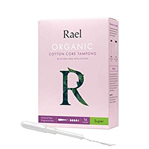 Rael Organic Cotton Unscented Tampons - Super Absorbency, BPA Free Plastic Applicator, Chlorine Free, Ultra Thin Applicator with Leak Locker Technology (32ct Total), Pack of 2 (Super)